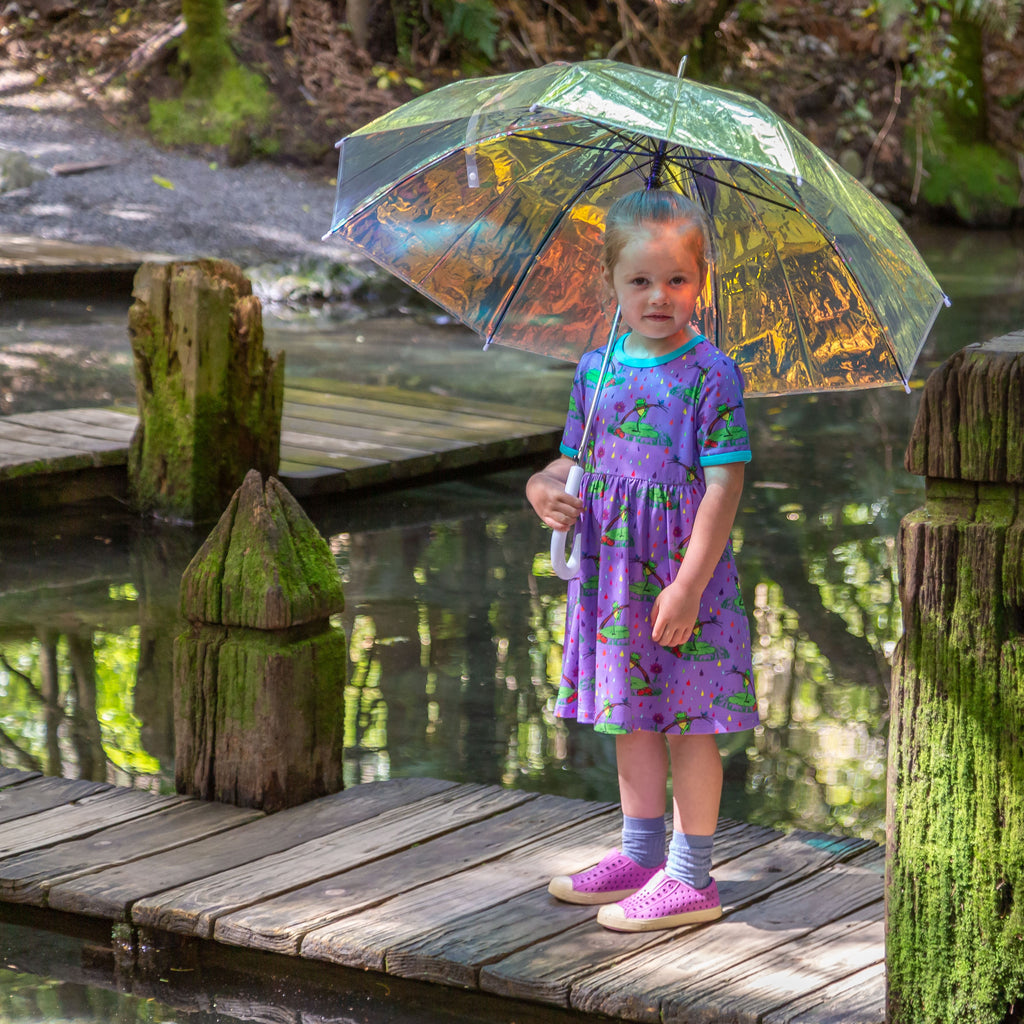 Rupert in the Rainbow Rain | Babydoll dress