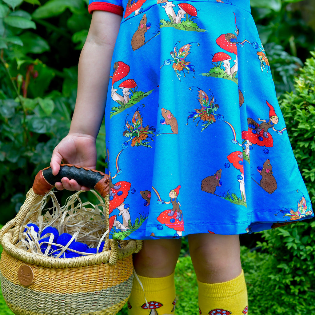 Basil the Curious Gnome | Short sleeve twirl dress