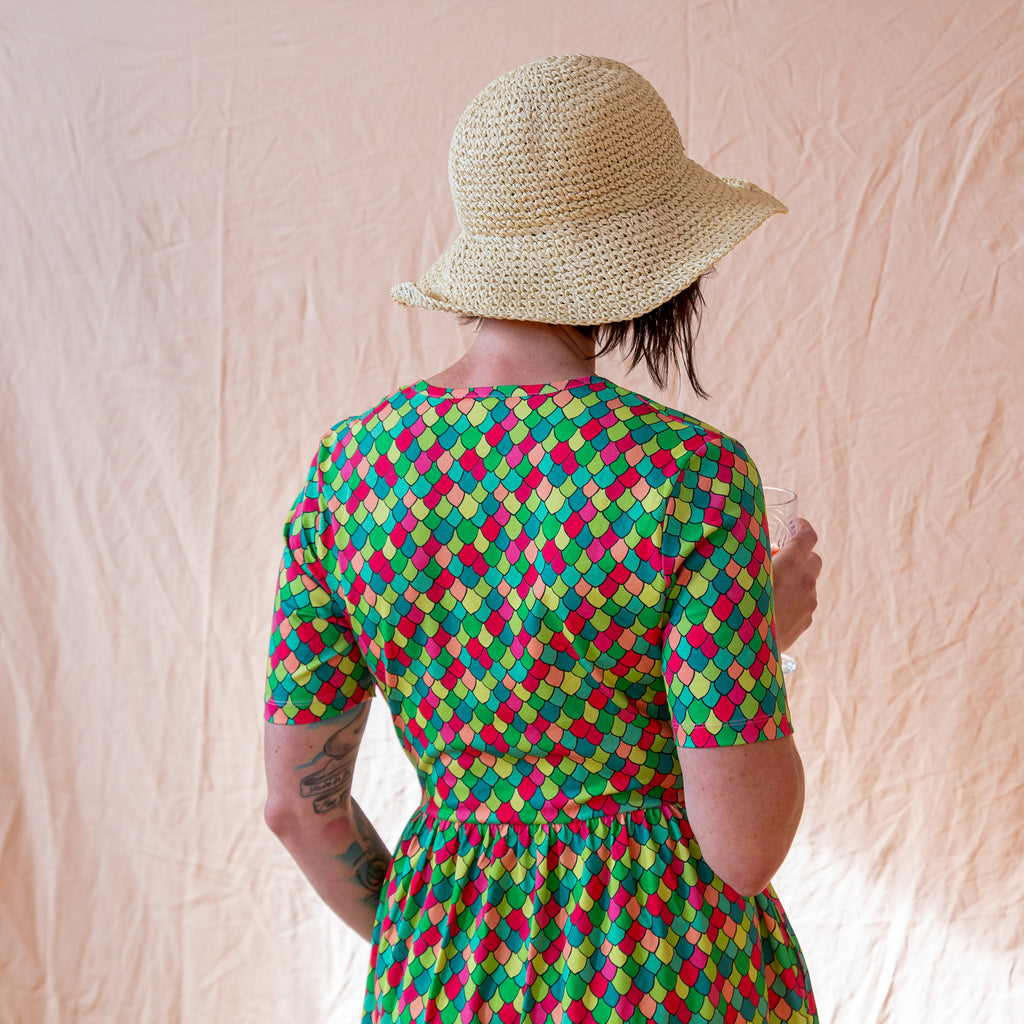 Pink Cosmos Rainbow Scales | Coco Dress