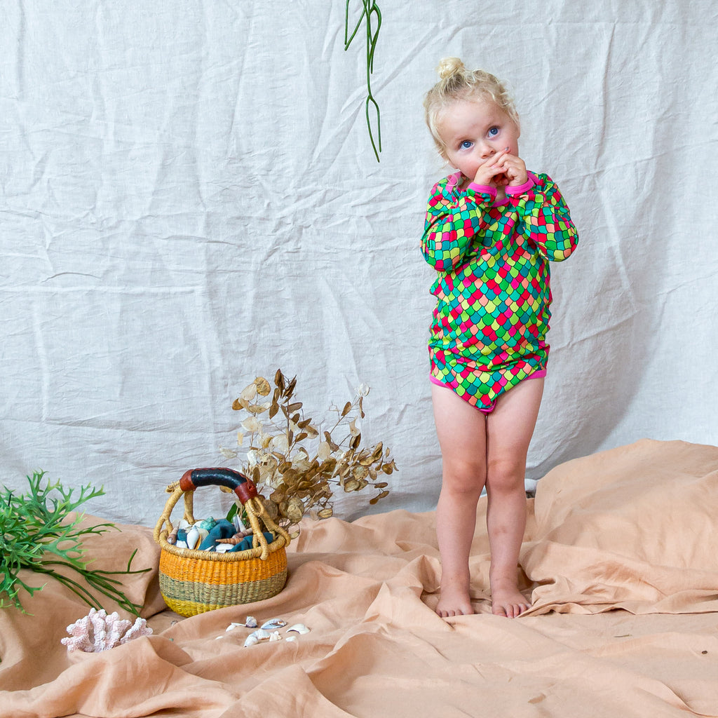 Rainbow Scales - Pink Cosmos | Onesie body suit