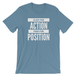 -CLICK FOR ACTION FEED FOR POSITION- Kurzärmeliges Unisex-T-Shirt