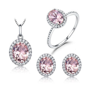 799666ca6 925 Sterling Silver Jewelry Set Pink Sapphire Ring Pendant Necklaces Stud  Earrings For Women Wedding Party