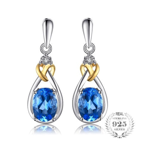 18K Knot Earrings Genuine White Diamond Accent 925 Sterling Silver