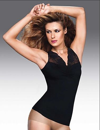 Maidenform shapewear tank top med brede stropper og blonde..