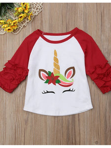 Christmas Unicorn Ruffle Shirt