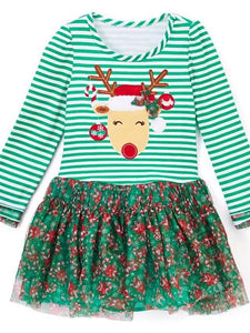 Green and Red Reindeer Dress