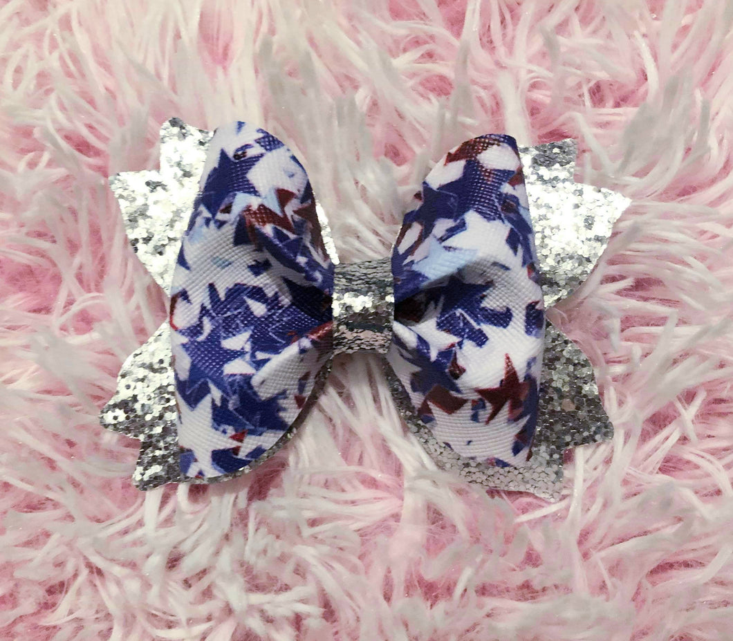 Red, White and Blue Stars Hair Bow