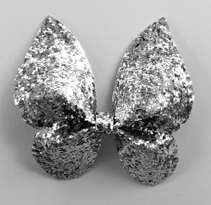 Silver Glitter Butterfly Hairbow