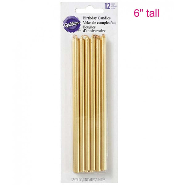 Wilton 12 pack Gold Long birthday cake candles