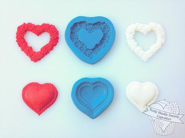 Open Rose Heart Mould