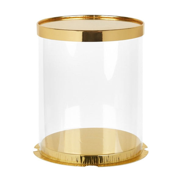 "10"" Round/13"" tall Deluxe PVC Transparent Crystal Cake Box - Prestige Gold - Cake Craft Company"
