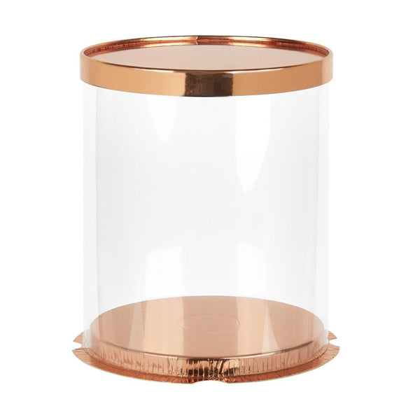 "12"" Round/15"" tall Deluxe PVC Transparent Crystal Cake Box - Rose Gold - Cake Craft Company"