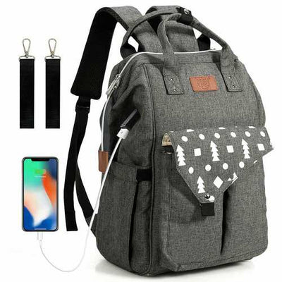 Waterproof Large Diaper Bag Backpack w/ USB Charging