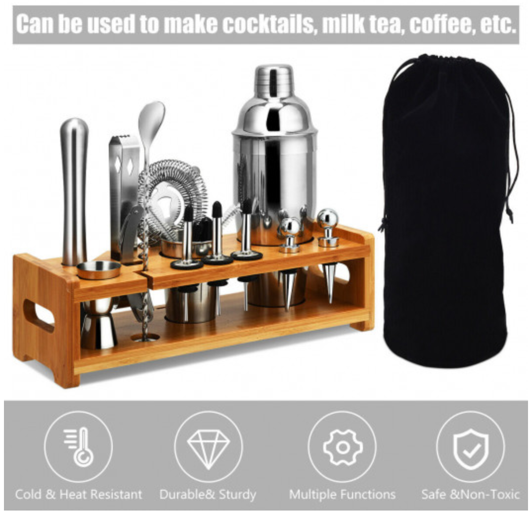 23 Piece Cocktail Shaker with Stand