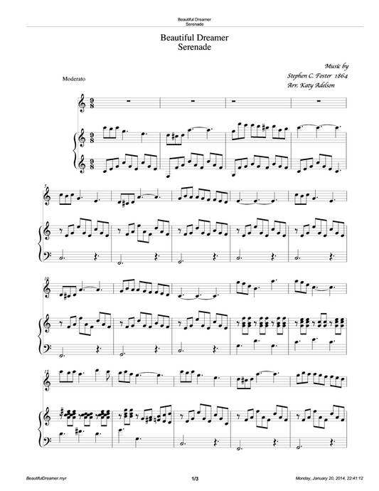 Beautiful Dreamer Violin and Piano/Lever Harp Accompaniment Sheet Music - Arranged by Katy Adelson