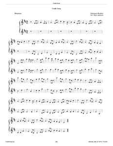Cradle Song (Brahm's Lullaby) Violin Duet Sheet Music - Arranged by Katy Adelson