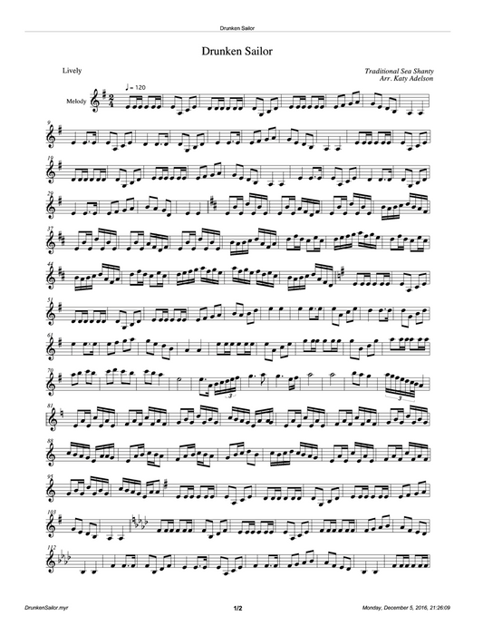 Drunken Sailor Violin Sheet Music - Arranged by Katy Adelson