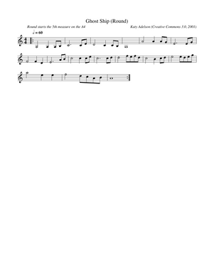 Ghost Ship (Round) Violin Sheet Music by Katy Adelson