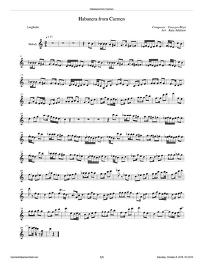 Habanera from Carmen Violin Sheet Music - Arranged by Katy Adelson