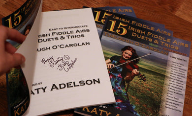 AUTOGRAPHED 15 Irish Fiddle Airs - Duets and Trios - Turlough O'Carolan - Easy to Intermediate - Arranged by Katy Adelson - PHYSICAL BOOK