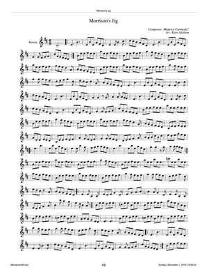 Morrison's Jig Violin Sheet Music - Arranged by Katy Adelson