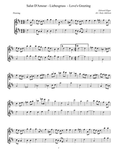 Salut D'Amour - Liebesgruss - Love's Greeting Violin Duet Sheet Music - Arranged by Katy Adelson