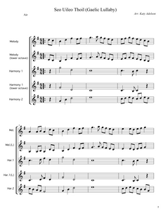 Seo Uileo Thoil (Gaelic Lullaby) - Duet, Trio, Quartet, Quintet (5 Parts) - Violin Sheet Music - Arranged by Katy Adelson