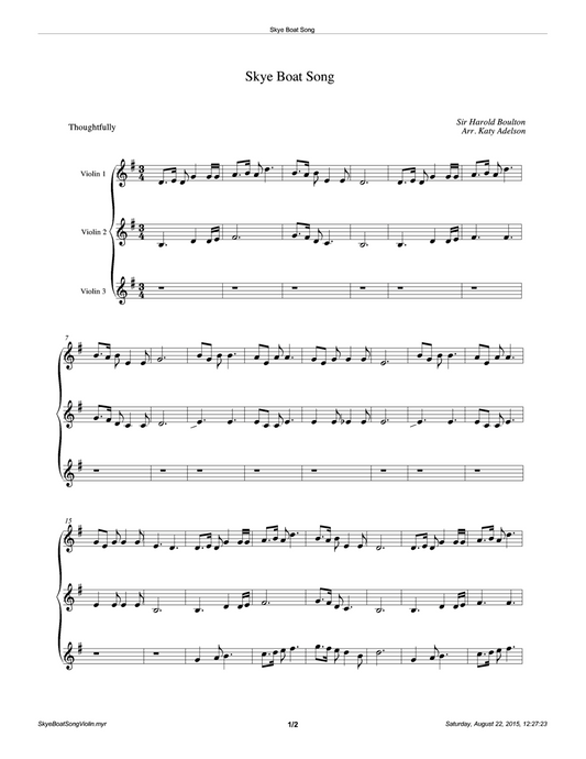 Skye Boat Song (Duet or Trio) Violin Sheet Music - Arranged by Katy Adelson