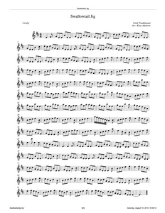 Swallowtail Jig Violin Sheet Music - Arranged by Katy Adelson