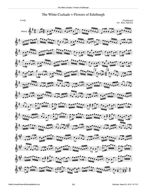 White Cockade + Flowers of Edinburg  Violin Sheet Music - Arranged by Katy Adelson
