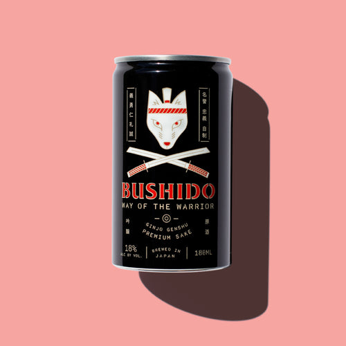 Single Bushido can on pink background