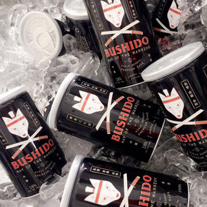 Bushido cans on ice to show serving suggestion.