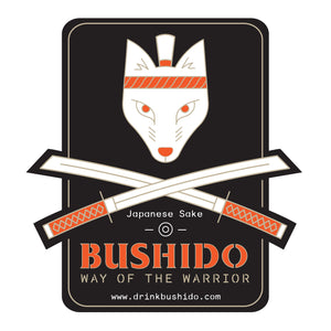 Bushido logo sticker, black background with white samurai fox