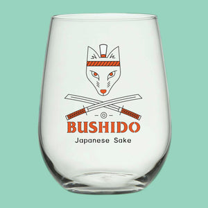 Stemless glass with Bushido samurai fox logo.
