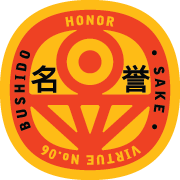 Bushido virtue sticker featuring Honor, yellow background with red graphics