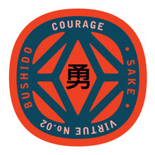 Load image into Gallery viewer, Bushido virtue sticker featuring Courage, red background with navy graphic