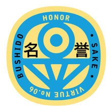Load image into Gallery viewer, Bushido virtue sticker featuring Honor, yellow background with light blue graphic