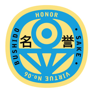 Bushido virtue sticker featuring Honor, yellow background with light blue graphic