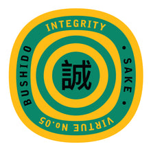 Load image into Gallery viewer, Bushido virtue sticker featuring Integrity, yellow background with green graphics
