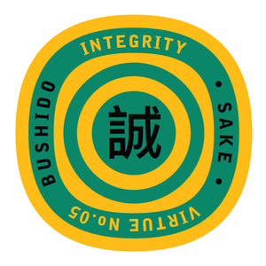 Bushido virtue sticker featuring Integrity, yellow background with green graphics