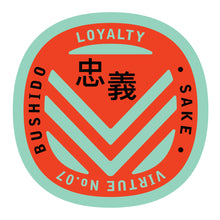 Load image into Gallery viewer, Bushido virtue sticker featuring Loyalty mint green background with red graphic