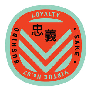Bushido virtue sticker featuring Loyalty mint green background with red graphic