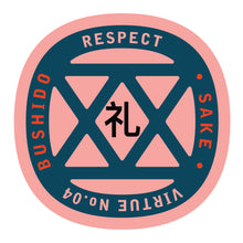 Load image into Gallery viewer, Bushido virtue sticker featuring Respect, pink background with navy blue graphic