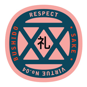 Bushido virtue sticker featuring Respect, pink background with navy blue graphic