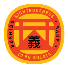 Load image into Gallery viewer, Bushido virtue sticker featuring Righteousness, yellow background red graphic