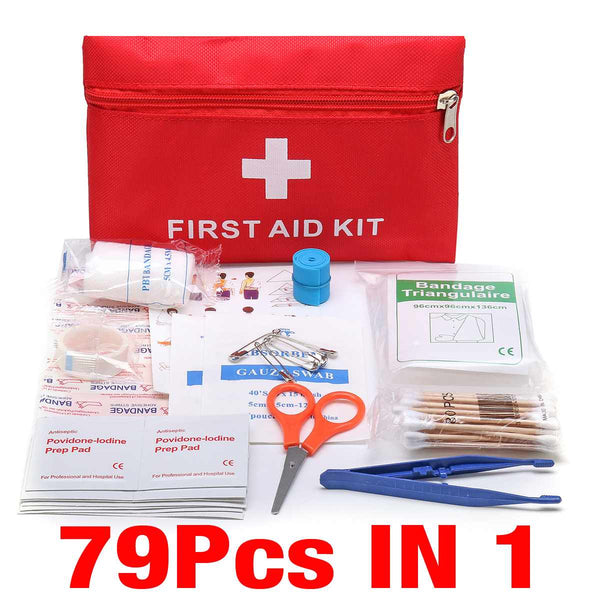 79pcs Mini Safe Camping First Aid Bag Kit