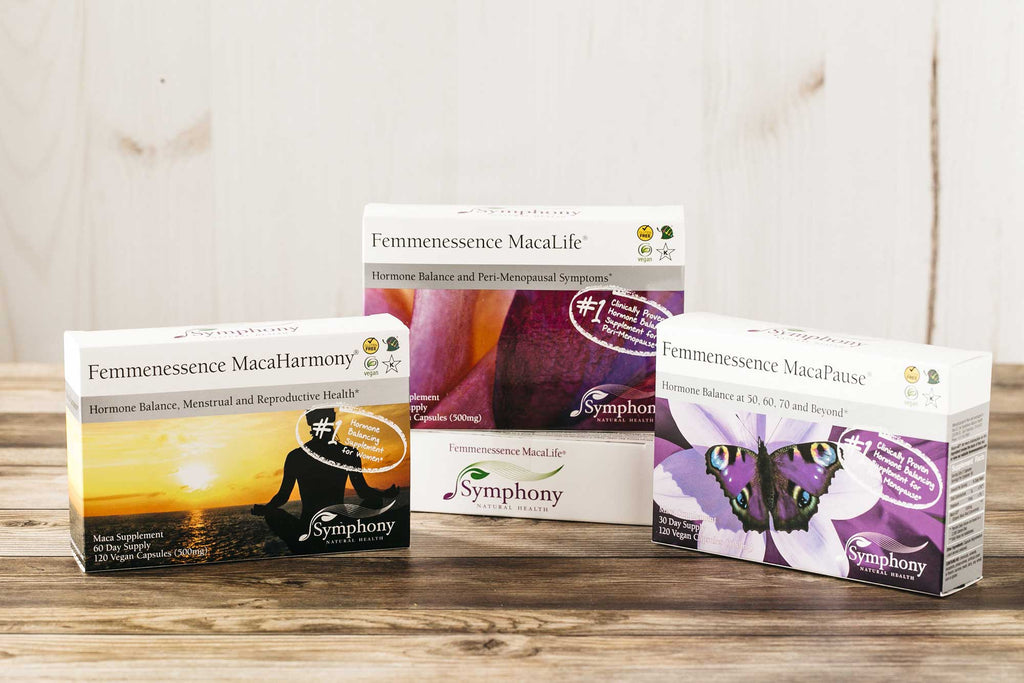 Femmenessence MacaHarmony, MacaLife, and MacaPause for each stage of a woman's life