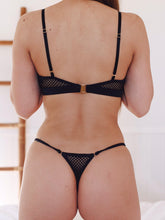 Load image into Gallery viewer, Crop Set with G-string Black - IN BLOOM