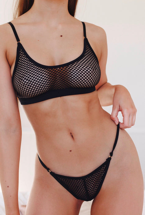 Crop Set with G-string Black - IN BLOOM