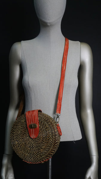 Basket Woven Bag with Tinalak Patches - Circle